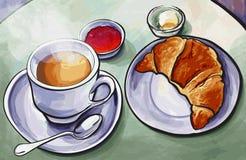 与咖啡expresso的新鲜的法国在wat的早餐和新月形面包 库存图片