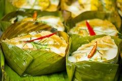 与咖喱酱的被蒸的鱼是另一个普遍的泰国盘 免版税库存照片