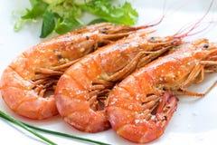 与咸调味料的烤国王大虾 库存图片