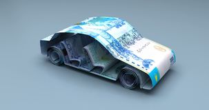 与哈萨克人坚戈的汽车财务 向量例证