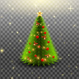 与响铃、红色在透明背景隔绝的球和星的圣诞树 也corel凹道例证向量 免版税库存图片