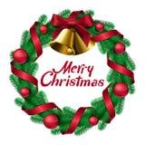 与响铃丝带和球的圣诞节花圈 库存照片