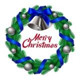 与响铃丝带和球的圣诞节花圈 免版税库存图片