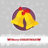 与响铃的圣诞卡模板 图库摄影