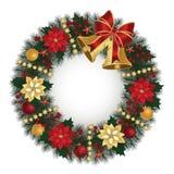 与响铃的圣诞节花圈 免版税库存照片