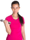 与哑铃III的女性亚洲锻炼 库存图片