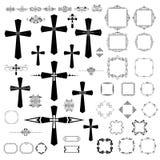 与哥特式十字架和减速火箭的框架的葡萄酒设计 免版税库存图片
