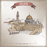 与哭墙,岩石的圆顶,耶路撒冷的旅行例证 皇族释放例证