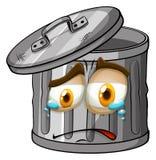 与哭泣的面孔的Trashcan 向量例证