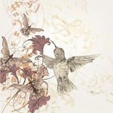 与哼唱着鸟、蝴蝶和笔记的花卉音乐背景 向量例证