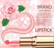 与唇膏玫瑰和污迹的化妆背景 免版税图库摄影
