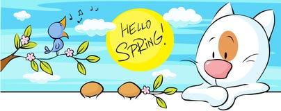 与唱歌鸟的春天横幅和猫和花开花-传染媒介 免版税库存照片