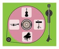 与唱片和乐器象的转盘 库存图片