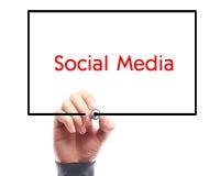 与商人手图画的社会媒介概念Whiteboard 库存照片