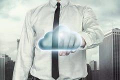 与商人的云彩计算的概念  库存图片