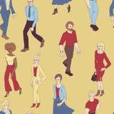 与商人走的无缝的样式 动画片与男人和妇女的样式例证 库存例证