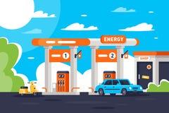 与商店,现代都市汽车,脚踏车的平的加油站 皇族释放例证