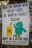 与商标的一块提醒的牌在阿比维尔,路易斯安那 免版税图库摄影