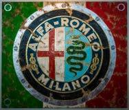 与商标阿尔法・罗密欧的绘画由德国艺术家Ferencz奥利维尔 免版税图库摄影
