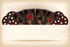 与啤牌元素的赌博娱乐场墙纸 皇族释放例证