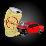 与啤酒罐的车祸 穿上饮料驱动器t 免版税库存图片