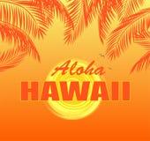 与喂夏威夷字法、太阳和橙色棕榈叶的T恤杉印刷品在热的黄色背景 库存照片
