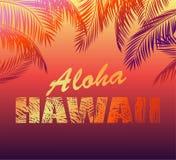 与喂夏威夷字法的热带霓虹背景和T恤杉,夜党海报和其他的棕榈叶剪影设计 免版税库存图片