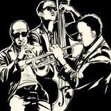 与喇叭和低音提琴的爵士乐队 免版税库存图片