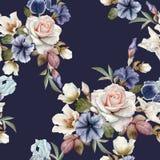 与喇叭花、黑黎芦、玫瑰和虹膜的花卉无缝的样式 皇族释放例证