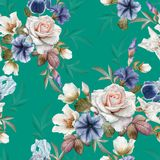 与喇叭花、黑黎芦、玫瑰和虹膜的花卉无缝的样式 库存例证