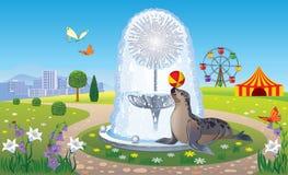 与喷泉和封印的风景 免版税库存图片