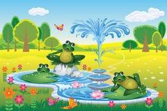 与喷泉和青蛙的夏天风景 免版税库存照片