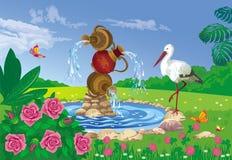 与喷泉和鹳的美好的夏天风景 库存照片