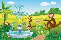 与喷泉和猴子的风景 库存图片