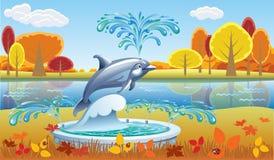 与喷泉的秋天风景 库存照片