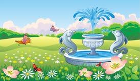 与喷泉的美好的夏天风景 免版税库存照片