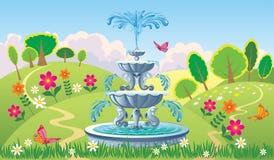 与喷泉的美好的夏天风景 库存图片