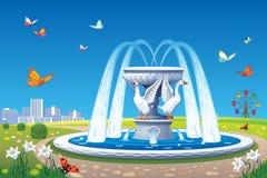 与喷泉的美好的夏天风景 免版税库存图片