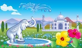 与喷泉的风景大象 免版税库存照片