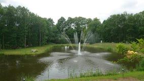 与喷泉的风景 免版税库存图片