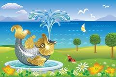 与喷泉鱼的美好的风景 库存照片