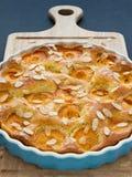 与嘎吱咬嚼的杏仁裂片的杏子馅饼 免版税库存照片