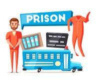 与囚犯的监狱 字符设计 动画片司令员枪他的例证战士秒表 库存例证