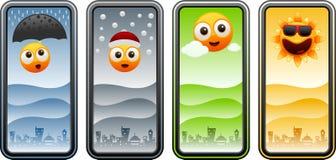 与四个季节的动画片太阳 免版税库存照片