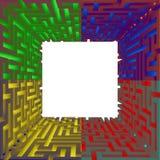 与四个边缘颜色的方形的空白的sguare 库存照片