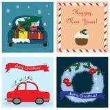 与四张卡片的圣诞节汇集 向量 10 eps 向量例证