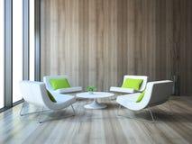 与四把扶手椅子的现代内部和coffe制表3d翻译 免版税库存图片