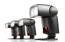 与四照相机闪光的构成查出 库存图片