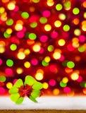 与四片叶子三叶草和瓢虫的新年背景 库存图片