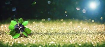 与四片叶子幸运的三叶草的背景 免版税库存照片